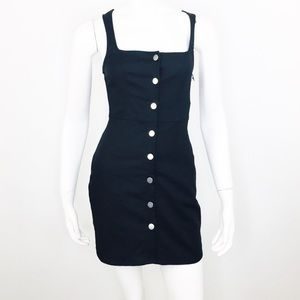 BY THE WAY BLACK DEMI BUTTON UP MINI DRESS